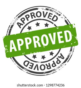 Approved text rubber stamp icon isolated on white background. Symbol of approval. illustration