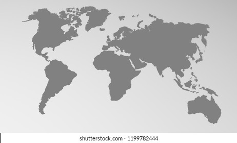 Approximate illustration of the world map in grey on white.