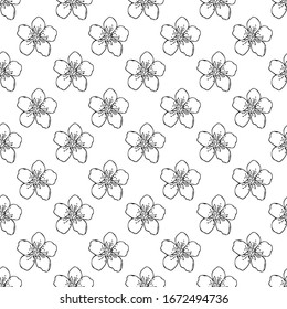 Apricot cherry flowers seamless pattern hand drawn in doodle style. Scandinavian simple monochrome. spring flowering. textile, wrapping paper, poster, card