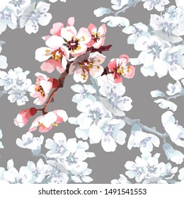 Apricot flowers branch on white grey background seamless pattern for all prints on hand painting style.