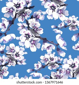 Apricot flowers white watercolor on blue background seamless pattern for all prints on hand painting style.