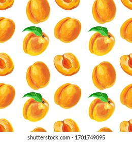 Apricots with slice and leaf. Fruit seamless pattern design for wallpaper, textile, fabric, packaging.