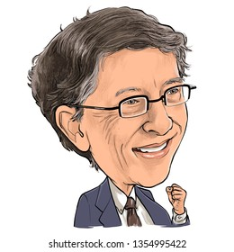 April 1 , 2019 Caricature of William Henry Gates III, Bill Gates is an American business magnate, investor, author, philanthropist, and humanitarian, Portrait Drawing Illustration.