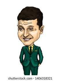 April 1, 2019 - Kiev, Ukraine. Zelenskiy Vladimir Ukrainian President actor humorist Caricature