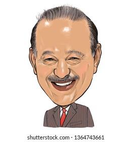 April 10, 2019 Caricature of Carlos Slim Helu Engineer, Investor, Philanthropist, Mexican businessman, Millionaire Portrait Drawing Illustration.