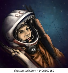 April 12, 2019: Astronaut Cosmonaut Yuri Gagarin Portrait Digital Drawing Illustration. The first man in Space