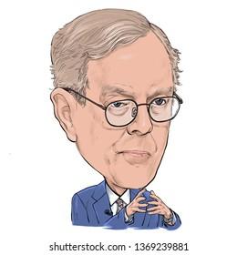 April 15, 2019 Caricature of Charles Koch, Investor, Political donor, Philanthropist, American businessman, Millionaire Portrait Drawing Illustration.