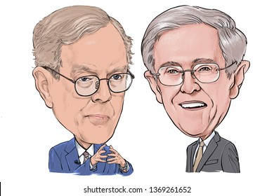 April 15, 2019 Caricature of David Koch, Charles Koch, Investor, Political donor, Philanthropist, American businessman, Millionaire Portrait Drawing Illustration.