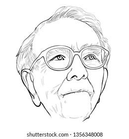 April 2, 2019 Caricature of Warren Edward Buffett, Warren Buffett, Investor , Businessman Millionaire Portrait Drawing Illustration.