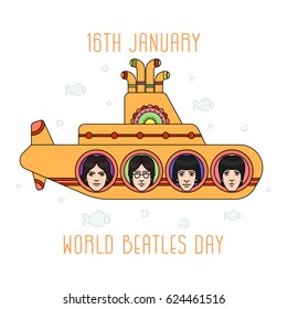 April 20, 2017: illustration of the Beatles band members in the yellow submarine on white background with lettering. The Beatles band and the World Beatles day on January 16 topic.