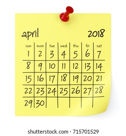 April 2018 Calendar. Isolated on White Background. 3D Illustration