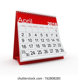 April 2018 Monthly Calendar. 3d rendered illustration.