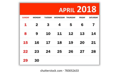 April 2018. Monthly calendar 2018 year in simple style design. Week starts from Sunday.