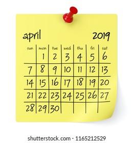 April 2019 Calendar. Isolated on White Background. 3D Illustration