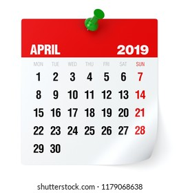 April 2019 - Calendar. Isolated on White Background. 3D Illustration