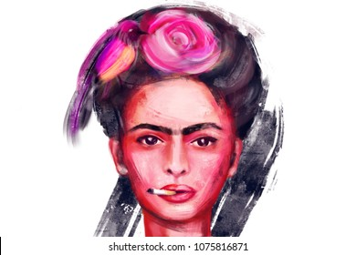 April 24, 2018: digital raster illustration of mexican artist Frida Kahlo. Portrait of woman with flower and bird in her hair. Holding cigarette in her mouth.