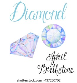 April birthstone Diamond isolated on white background. Close up illustration of gems drawn by hand with colored pencils. Realistic faceted stones.
