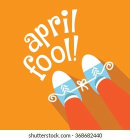 April Fools Day gag flat design.