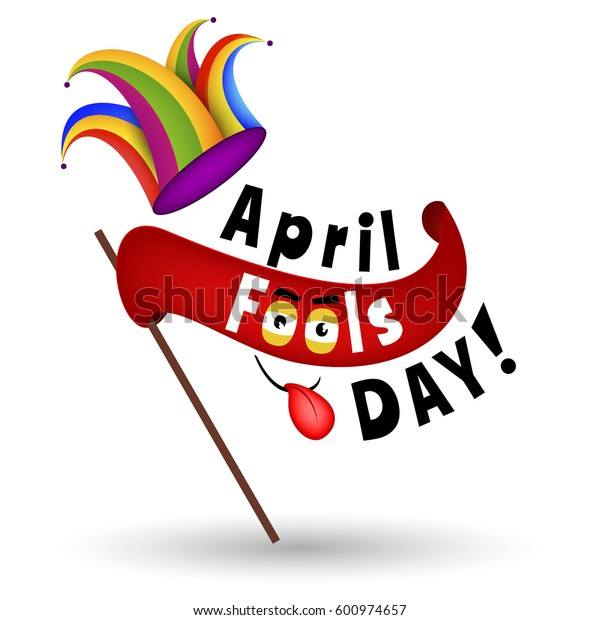 April Fools Day Typography Cartoon Illustration with Jester hat and a red flag