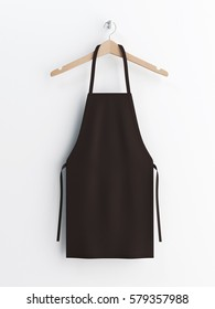 Apron, black apron, apron mockup, apron on clothes hanger 3d rendering