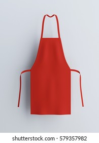 Apron, red apron, apron mockup 3d rendering