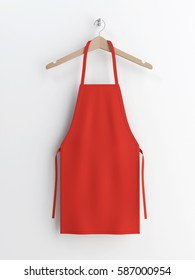Apron, red apron, apron mockup, apron on clothes hanger 3d rendering