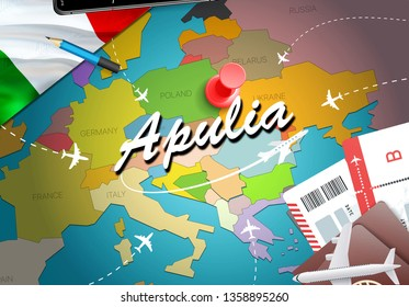 Apulia city travel and tourism destination concept. Italy flag and Apulia city on map. Italy travel concept map background. Tickets Planes and flights to Apulia holidays Italian vacation