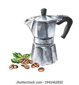 Aqua Bialetti coffee maker and coffee beans. Watercolor hand drawn illustration  isolated on white background