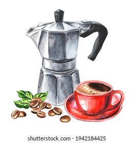 Aqua Bialetti coffee maker, coffee beans and mug with beverage. Watercolor hand drawn illustration  isolated on white background
