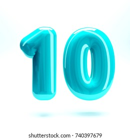 Aqua blue glossy letter number ten 10 bold and uppercase. 3D render font painted with aqua blue polish and light reflection isolated on white background with clear shadow