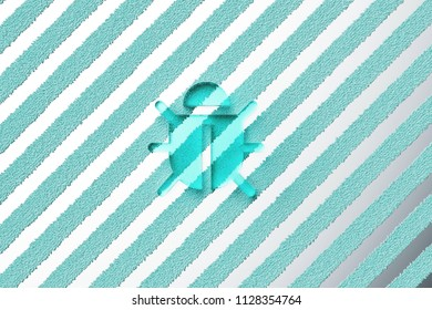 Aqua Color Bug Icon on the Silver Stripes Background. 3D Illustration of Aqua Bug, Defect, Flaw, Glitch, Insect, Security Icon Set With Striped Silver Background.