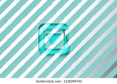 Aqua Color Caret Down in Square Icon on the Silver Stripes Background. 3D Illustration of Aqua Arrow, Caret, Down, Pointer, Select, Selector Icon Set With Striped Silver Background.