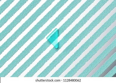 Aqua Color Caret Left Icon on the Silver Stripes Background. 3D Illustration of Aqua Arrow, Back, Care, Caret, Left, Previous Icon Set With Striped Silver Background.