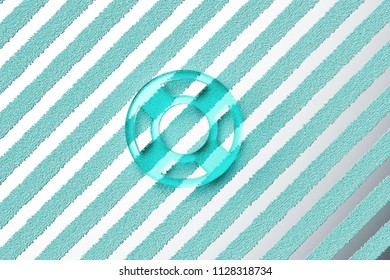 Aqua Color Life Ring Icon on the Silver Stripes Background. 3D Illustration of Aqua Floatation Device, Guardar, Life Buoy, Life Ring, Life Save Icon Set With Striped Silver Background.