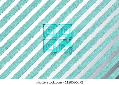 Aqua Color Qrcode Icon on the Silver Stripes Background. 3D Illustration of Aqua Barcode, Code, Qr, Qrcode, Quick Response, Scan Icon Set With Striped Silver Background.