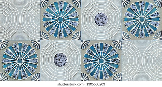 Aqua Colored abstract wall Decor, Ceramic Tile Design for bathroom ; wallpaper, linoleum, textile, web page background.