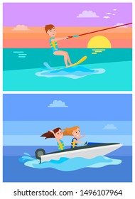 Aqua sport summer collection kitesurfing or boating boy and girls happy of holidays activities set cartoon raster illustration isolated on blue.