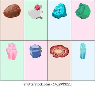 Aquamarine agate sapphire pink quartz malachite turquoise garnet carnelian precious gemstones set isolated on white raster. crystals and minerals gems