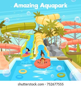 Aquapark poster template with water pool slides pipes cheerful family and children in flat style  illustration