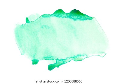 Aquarell is a green stain of paint, transparent with smudges saturated with droplets.