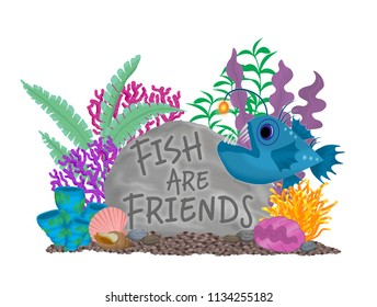 "Aquarium Ornament rock sign saying ""Fish are Friends"", with plants, coral, sea anemones, sea shells and giant clam with an anglerfish swimming by on a bed of gravel."