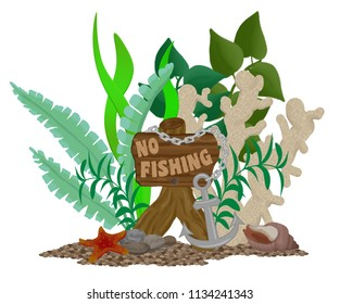 """Aquarium Ornament wooden sign saying """"No Fishing"""", with plants, coral, an anchor and chain, starfish, and sea shell on a bed of gravel."""