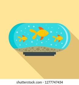 Aquarium tank icon. Flat illustration of aquarium tank icon for web design