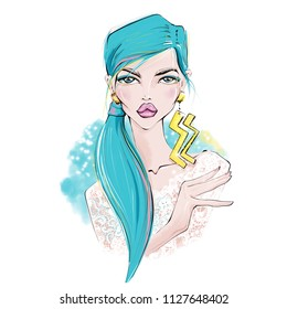 Aquarius. Zodiac Girls Illustrations