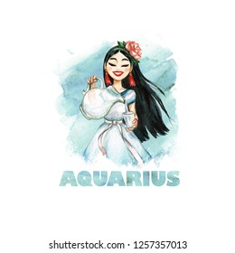 Aquarius - Zodiac Symbol. Watercolor Illustration.