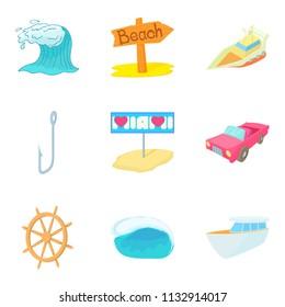 Aquatic adventures icons set. Cartoon set of 9 aquatic adventures icons for web isolated on white background