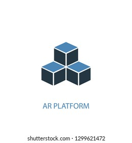 AR platform concept 2 colored icon. Simple blue element illustration. AR platform concept symbol design from Augmented reality set. Can be used for web and mobile UI/UX