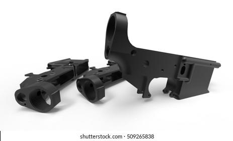 AR15 lower receiver 3D render