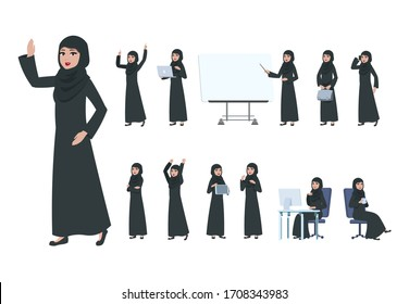 Arab businesswoman. Saudi muslim business woman character. Islam arabian female in business activity, cartoon office lady set