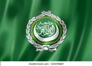 Arab League flag, three dimensional render, satin texture